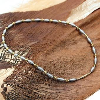 Halskette 585er Weiß-/Gelbgold