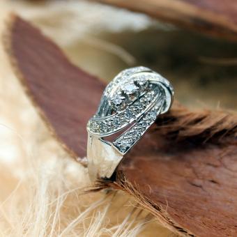 Weißgold-Diamant-Ring 585er mit 23 Diamanten
