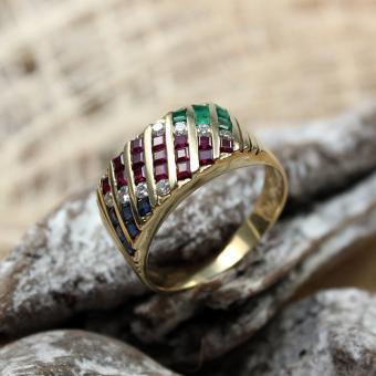Ring mit Saphir/Rubin/Smaragd und Diamant