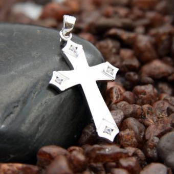 AAGAARD Kreuzanhänger gebürstet mit Zirkonia