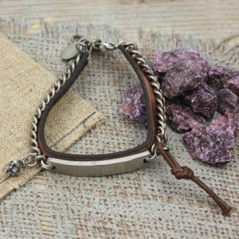 Edelstahl/ Leder Armband von Clochard