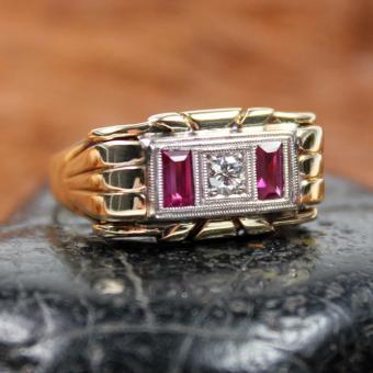 Antiker Rubin/ Dia. Ring 585er