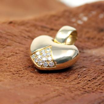Herzanhänger mit Brillanten 750er Gelbgold