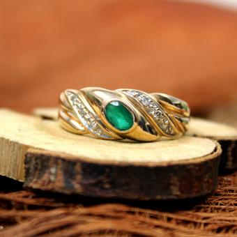 Smaragd - Diamant Ring 585er Gelbgold