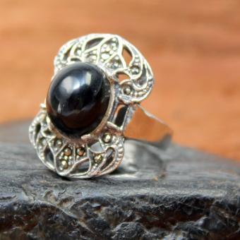Art Deco Onyx Silber Ring GR 56