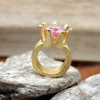 Silber vergoldeter Ring 925er Krone mit Topas