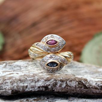 Diamant - Saphir - Rubin Ring 750er
