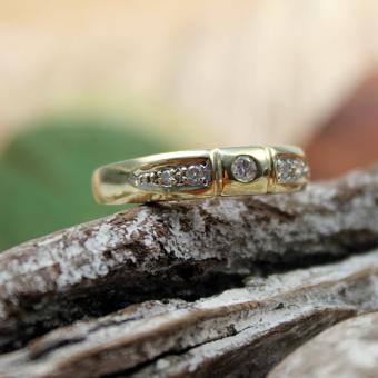 Diamant Bandring 585er Gelbgold