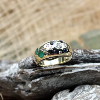 Gelbgold Ring 585er mit Farbsteinen