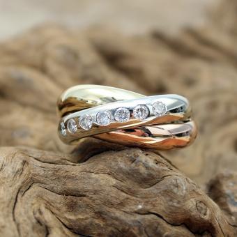 Tri - Color Ring 750er mit Brillanten Gr.54