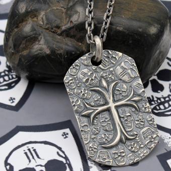 JJJ LA Halskette Hundemarke Cross  925er Silber