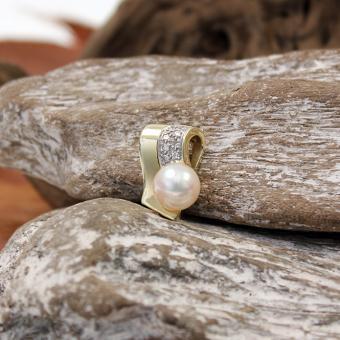 Perlanhänger mit Diamanten 585er Gelb Gold