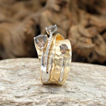 Diamant Rauchquarz Ring 585er Gelbgold Gr 54/55