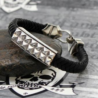 "JJJ LA Armband ""Glamrock"" Leder kombiniert mit Silber"