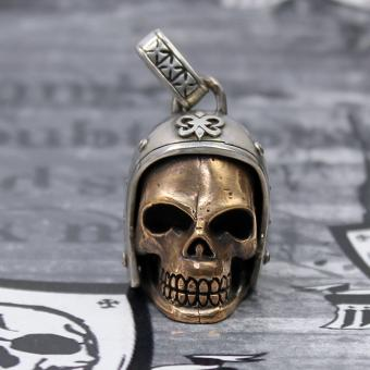 "JJJ LA ""Biker Skull"" Anhänger Silber/Bronze"