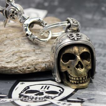 "JJJ LA Schlüsselanhänger ""Biker Skull"" Silber / Bronze Gold polished"