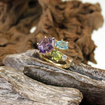 Farbstein-Diamant-Ring 585er GG