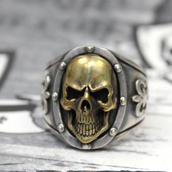 """JJJ LA Herren Ring """"gold Skull"""" 925er Silber / Bronze GR 66"""