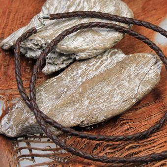 Auroris Lederband geflochten braun mit Karabinerverschluß aus 925er Silber