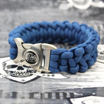 "JJJ LA Paracord Armband ""blue Skull"" mit 925er Silberschließe Länge: 190 mm"