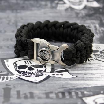 "JJJ LA Paracord Armband ""black Skull"" mit 925er Silberschließe Länge: 190 mm"