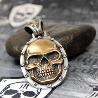 """JJJ LA Anhänger """"bronce Skull"""" 925er Silber Bronze"""