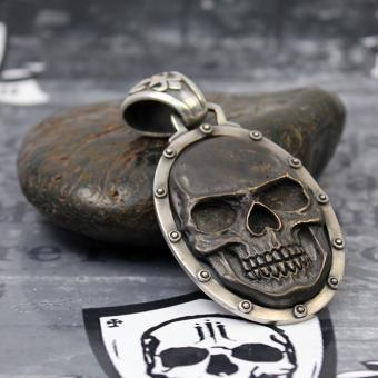 "JJJ LA Anhänger ""black big Skull"" 925er Silber mit Bronze black polished"