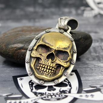 """JJJ LA Anhänger """"gold big Skull"""" 925er Silber mit Bronze gold polished"""
