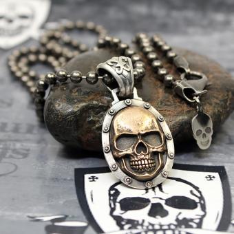 """JJJ LA """"bronce Skull"""" Collier 925er Silber mit Bronze / 4 mm Kugelkette - 68 cm Länge"""