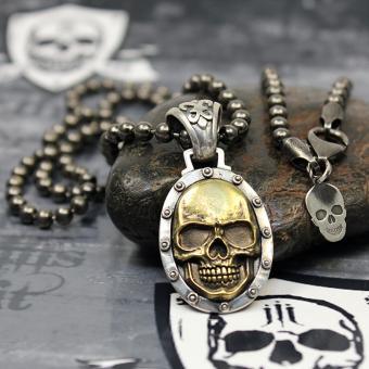 "JJJ LA ""gold Skull"" Collier 925er Silber mit Bronze / 4 mm Kugelkette - 68 cm Länge"