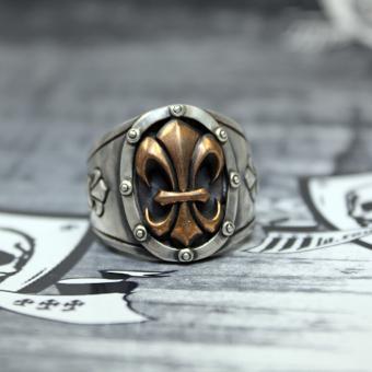 "JJJ LA Herren Ring ""bronce Fleur de Lys"" 925er Silber mit Bronze GR 62"