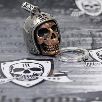 "JJJ LA Anhänger ""Big Bronze Biker Skull"" 925er Silber Bronze inkl. Schlüsselring aus 925er Silber"