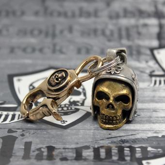 """JJJ LA """"Biker Skull"""" Schlüsselanhänger 925er Silber/Bronze gold polished mit Bronze Karabiner gold polished"""