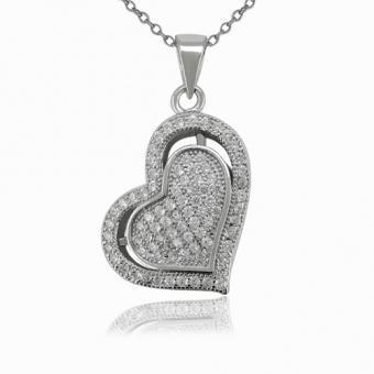 """925 Sterling Silber Anhänger """"Double Heart"""" mit Rhodium Platinierung Kubik Zirkonia Micro Pave Fassung"""
