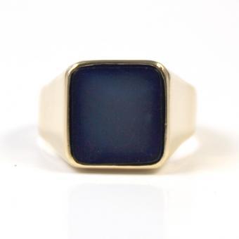 750er Gelbgold Herren Ring Siegelring mit blauen Lagenstein GR 66