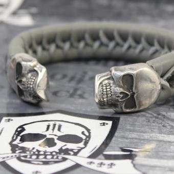 "JJJ LA Leder Armspange ""grey Skull"" 190 mm Armumfang"