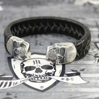 "JJJ LA Leder Armspange ""black Skull"" 190 mm Armumfang"