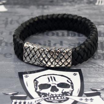 """JJJ LA Lederarmband """"black silver"""" mit 925er Silberschließe in Lederbandoptik"""