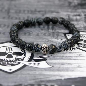 """JJJ LA Armband """"baked achat skull"""" Achatkugeln und Totenschädel aus 925er Silber 180 mm Armumfang"""