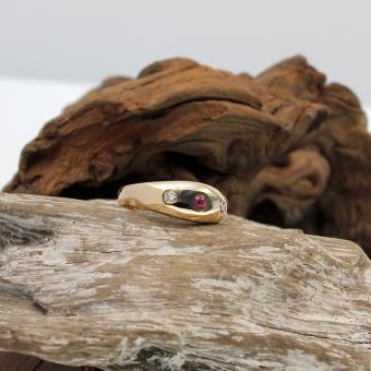 Bandring mit Diamant und Turmalin 585er Gelbgold