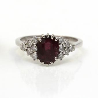 750er Rubin Ring Weißgold Damenring GR 53