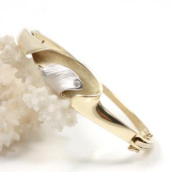 Armreif 750er Gelbgold/925er Silber original Lapponia mit Diamant im Brillantschliff ca. 0,03ct