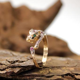 Gelbgold 8K Panther Ring mit Farbsteinen grün/pink