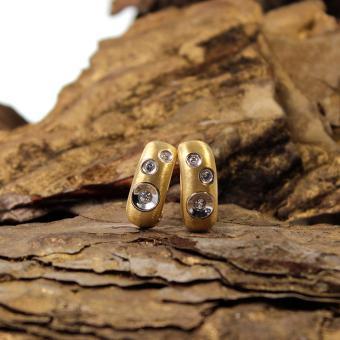 Gelbgold Ohrstecker mit Clip 750er mit Diamanten