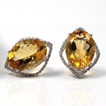 Diamant Citrin Ohrclips-Stecker 750er Weißgold
