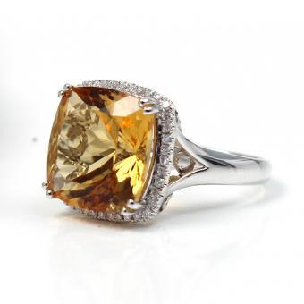 Brillant Citrin Ring 750er Weißgold GR 55