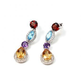 Brillant Ohrhänger mit Farbedelsteinen in 585er Weißgold