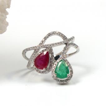 Brillant Rubin Smaragd Ring 750er Weißgold GR 55