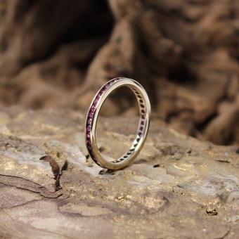 Memoire Ring mit Rubinen 750er Gold