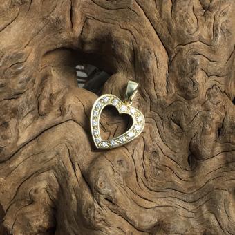 Diamant Herz Anhänger 585 Gelbgold